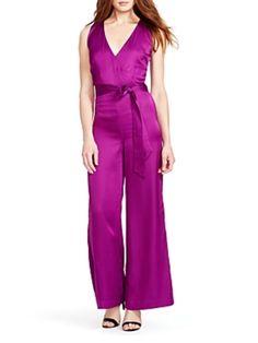 $175 NEW LAUREN RALPH LAUREN Size 14W Elegant Fuschia Wide Leg Jumpsuit  #LaurenRalphLauren #Jumpsuit