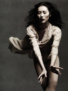 """liu wen in """"dancing in the soul"""" by daniel jackson for vogue china may 2012."""