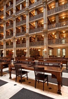 "Steampunk Tendencies | Cathedral of books -George Peabody Library Completed in 1878, it was designed by Baltimore architect Edmund G. Lind in collaboration with the first Peabody provost, Nathaniel H. Morison, that described it as a ""cathedral of books."" Wikipedia  Architecture"