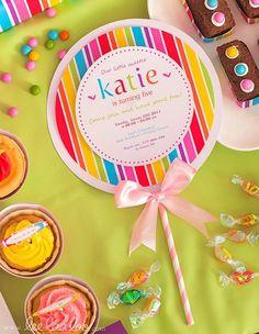 PRINTABLE Invitation DIY  Sweet Lollipop Birthday Party printable decoration by