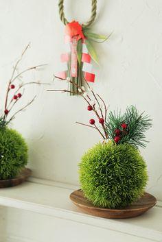 ★ダイソー100円!フェイクグリーンで苔玉風お正月飾り | インテリアと暮らしのヒント