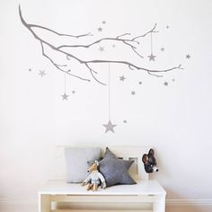 Winter Branch With Stars Fabric Wall Sticker from notonthehighstreet.com