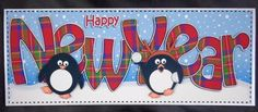Card Gallery - Large DL NEW YEAR Penguins 3D decoupage