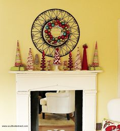 Colorful Christmas mantle (2009) - DIY Christmas Decorations - lots of handmade trees (made from paper, felt and yarn)