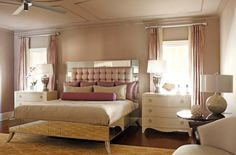 Art Deco bedroom color scheme, but with mauve walls and gray headboard