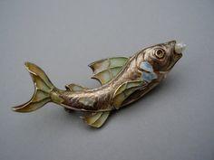Antique German Art Nouveau Jugendstil Meyle & Mayer Depose Sterling Silver Plique a Jour Enamel Fish Brooch Pin Fensteremail Silber Brosche