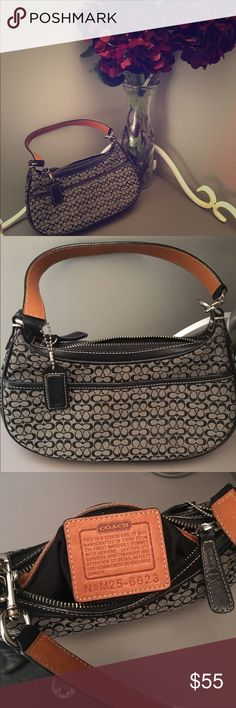 "Coach Authentic Small Signature Bag  M25-6623 Perfect condition, only used once or twice! Like new!                  Bag Height: 5.5"" Style: shoulder Bag Bag Length: 9.5"" Material: Jacquard/Leather Coach Bags Mini Bags"