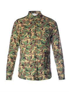 Saint Laurent Camouflage-Print Shirt Printed Shirts, Camouflage, Military Jacket, Saint Laurent, Casual Outfits, Mens Fashion, Jackets, Casual Clothes, Moda Masculina