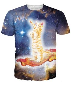 Estimated time of arrival is 10 business days + shipping time, unless coupled with products that have a longer stated production time. Space, cats, BACON!? This T-Shirt has it all! Care Instructions: