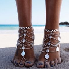 Barefoot Chain Sandels Great for the beach. Super cute. Sold as a set. Shoes Sandals