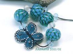 lampwork by anastasia | Green Spring lampwork bead set by Anastasia