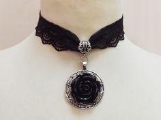Black rose necklace choker | cute!