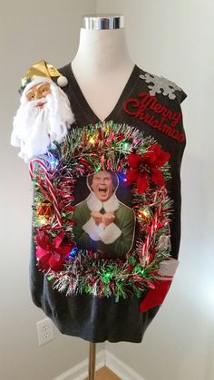 Buddy the ELF Light Up Ugly Christmas Sweater by UglySweatersForU