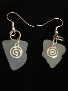 Sea Glass pierced earrings Hypnotic by JerseaGirlSeaGlass on Etsy, $12.00