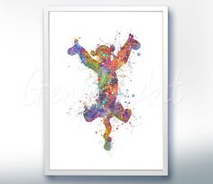 Disney Winnie the Pooh Tigger Watercolor Poster Print by GenefyArt