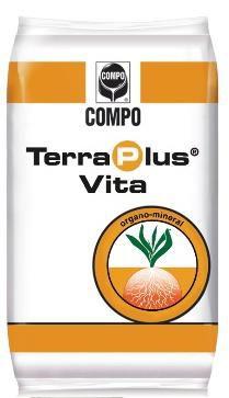 Terraplus® Vita 4-8-15+2MgO+5.6 S, B, Fe ΔΟΣΟΛΟΓΙΑ 50-100 κιλά /στρέμμα Κοκκώδες οργανο-ανόργανο λίπασμα. Η ειδική του σύνθεση το καθιστά ιδανικό για βασική λίπανση στην καλλιέργεια της τομάτας, καθώς δρά ως εδαφοβελτιωτικό και η υψηλή περιεκτικότητα του σε κάλιο αυξάνει την ποσότητα σακχάρων και ενισχύει το χρώμα τωνκαρπών.