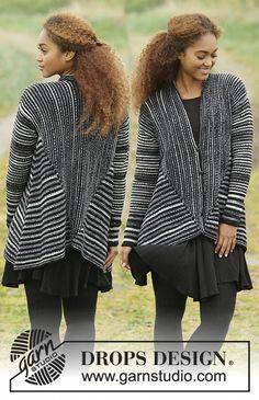 """Midnight Roads - Gilet DROPS au point mousse avec col châle, tricoté dans le sens de la longueur, en """"Fabel"""". Du S au XXXL. - Free pattern by DROPS Design 3 x"""