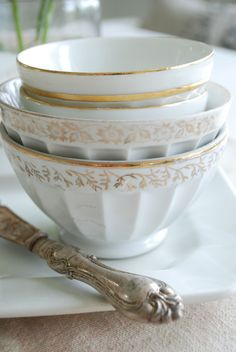 vintage white and gold dishes - fine vintage silverware ~ tablescape