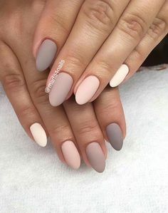 47 Ideas For Nails Acrylic Colors Awesome - Nageldesing Cute Acrylic Nails, Matte Nails, Acrylic Nail Designs, Pink Nails, My Nails, Oval Nails, Gradient Nails, Colorful Nail Designs, Shellac Nails