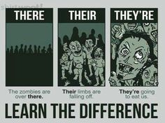 #There/their/they're difference. Don't look this pic for a long time; this grammar can make you fear =)