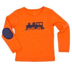 """Lily Balou - Longsleeve """"Nand"""" Orange. Prachtig shirt met trein-applicatie van het Belgische Lily Balou. Het shirt is afgewerkt met leuke ellebooglappen in een contrasterende kleur."""