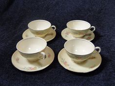 Homer Laughlin Eggshell Georgian Cashmere Tea Cup Saucer Set FOUR EXCELLENT! #HomerLaughlin