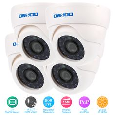 OWSOO 800TVL CCTV Camera Kit 4PCS Indoor Security Camera CCTV System+ 4*60ft Cable 3.6mm 24LEDs IR-CUT Night View Plug and Play  Price: 80.00 & FREE Shipping #computers #shopping #electronics #home #garden #LED #mobiles #rc #security #toys #bargain #coolstuff  #headphones #bluetooth #gifts #xmas #happybirthday #fun Security Surveillance, Surveillance System, Security Camera, Fixed Lens, Shipping Packaging, Cmos Sensor, Power Cable, Fujifilm Instax Mini, Night Vision