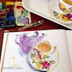 Liz Steel teacup sketch.