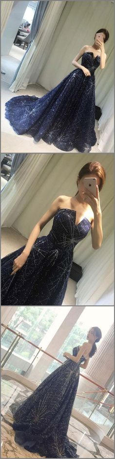 A-line Strapless Sweep/Brush Train Sleeveless Tulle Prom Dress/Evening Dress # Simple Prom Dress, Unique Prom Dresses, Prom Dresses Long With Sleeves, Prom Dresses 2018, Black Prom Dresses, Tulle Prom Dress, Mermaid Prom Dresses, Modest Dresses, Vintage Dresses