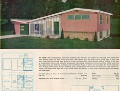 Ranch and Suburban Homes Garlinghouse plan Main levels: sq ft. Vintage House Plans, Modern House Plans, House Floor Plans, House Plans South Africa, House Plans With Pictures, Mid Century Exterior, Mcm House, Suburban House, Architecture Plan