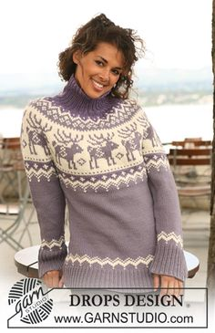 "Knitted DROPS jumper with raglan sleeves and reindeer pattern on yoke in ""Nepal"". Size S - XXXL. ~ DROPS Design"