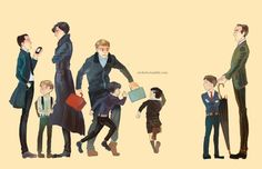 If the sherlock guys had kids. This is too funny. I love how mini Sherlock is chasing mini Moriarty. Mini jonh is holding onto Sherlocks coat and mim Mycroft s just sitting back watching it all.