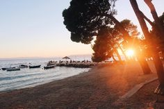 Beach and sunset. Makarska, Croatia