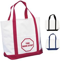 School starts back soon! Great for Teacher's school items, books etc... Promotional White Polyester Tote Bag Two Tone #teachers #school #logo #promoproducts #marketing #totes
