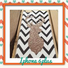 iPhone 6Plus Case, New! Glitter deer, white & black chevron iPhone 6Plus Case, brand new. Super cute!!! No Trades              No PayPal Accessories Phone Cases