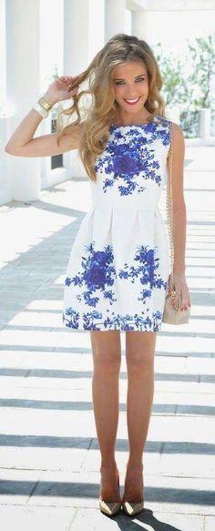 #street #style white dress + blue floral print @wachabuy