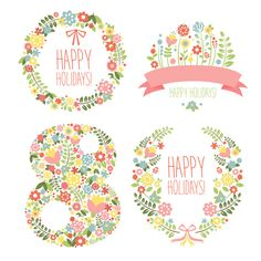 Flower frames with 8 March womens day vector
