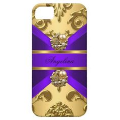 Elegant Classy Purple Gold Damask Jewel by Zizzago.com