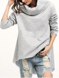 Buy Loose Plain High-Low Hoodie online with cheap prices and discover fashion Hoodies at Fashionmia.com.