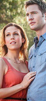 "Ryan McPartlin (Heath Madsen) with Erin Krakow (Samantha ""Sam"" Hart) in ""Chance at Romance"""