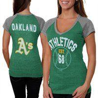 Oakland Athletics Ladies Jersey Raglan Premium T-Shirt #Fanatics