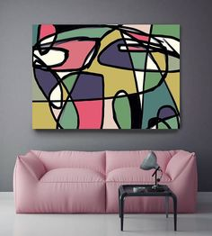 Vibrant Colorful Abstract-0-26-3. Mid-Century Modern Purple