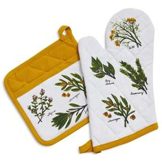 Herbs Oven Mitt and Pot Holder Set | Sur La Table