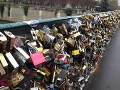 our first engraved love lock already attached on the bridge in Paris !