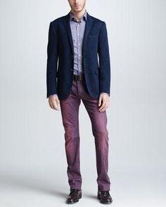 Etro Paisley Jersey Sport Coat, Paisley & Striped Sport Shirt & Dyed Denim Jeans - Neiman Marcus