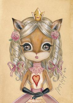 Princesse Rose LIMITED EDITION 25 impression signée numérotée Simona Candini lowbrow pop surréaliste gros yeux mignonne illustration art de Valentine Fox