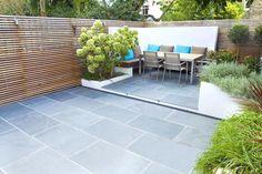 Contemporary small family garden designers in Clapham slate paving garden paving Modern Garden Design, Urban Garden Design, Family Garden, Small Gardens