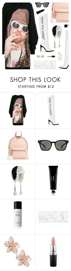 """""""My Girl, Nirvana"""" by blendasantos ❤ liked on Polyvore featuring R13, Off-White, BP., Oliver Peoples, Adrienne Landau, Byredo, Recover, NAKAMOL, MAC Cosmetics and sweaterdresses"""