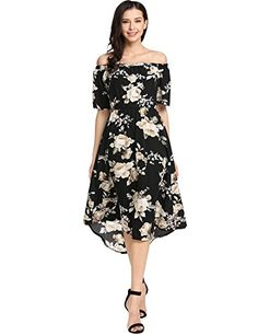 66b0e3f7bc Dickin Women s Off Shoulder Floral Prints Ruffle Short Sleeve Summer Casual  Dress Black S Dress Backs