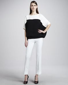 Mariah Colorblock Silk Top & Side-Zip Cropped Pants by Lafayette 148 New York